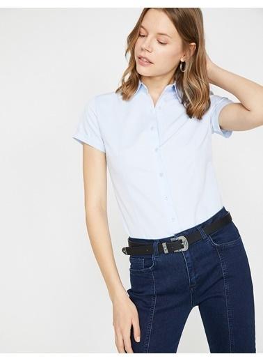 Koton Kısa Kollu Gömlek Mavi